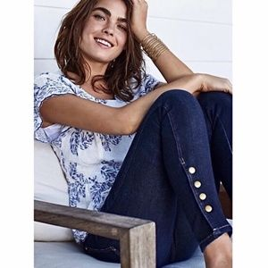 Anthropologie Pilcro Gold Snap Button Ankle Jeans
